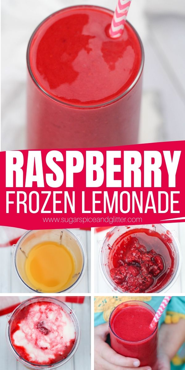 A delicious and refreshing summer drink that is tart and just a little bit sweet. This Raspberry Frozen Lemonade takes less than 5 minutes to whip up and is perfect for summer parties!