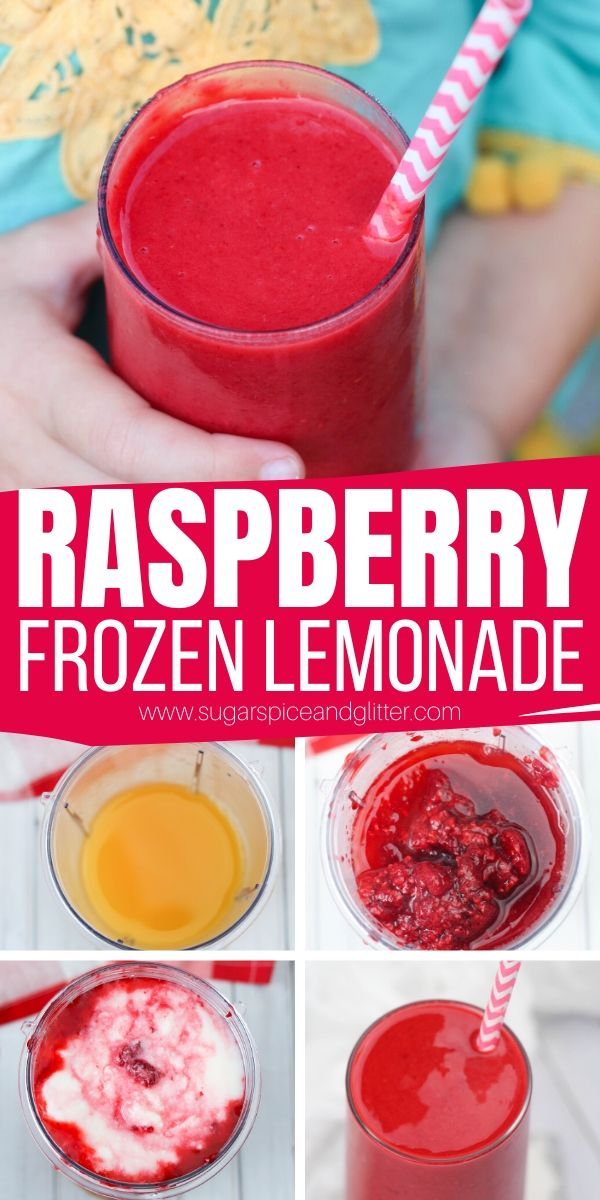 How to make Frozen Raspberry Lemonade, a sweet and tart summer drink that will tantalize your tastebuds as it refreshes and cools you down. Less than 5 minutes and 5 ingredients to make - so it's perfect for summer parties or having the kids help make