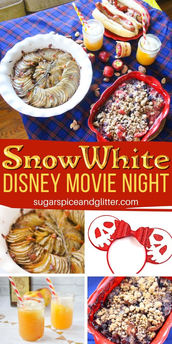 How to plan the ultimate Snow White Disney Movie Night for your family, complete with a Snow White craft, German menu and Snow White party decor - all quick and on a budget!