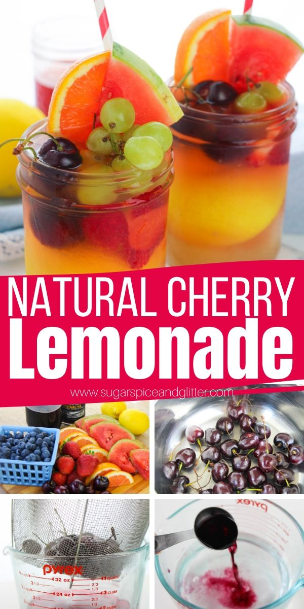 Tart, Sweet and Refreshing Cherry Lemonade Recipe. The perfect sugar-free lemonade recipe for your summer parties, BBQs or beach days - make sparkling or into a lemonade cocktail