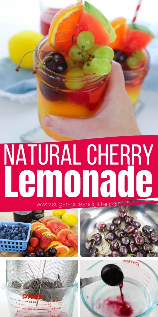 A delicious and refreshing Cherry Lemonade made with no sugar. Tart with the perfect amount of sweetness, this cherry lemonade is such a fun summer party drink!