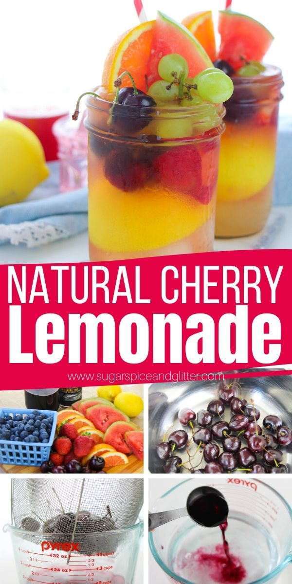 How to make cherry lemonade with real cherries and no processed sugar. This Natural Cherry Lemonade is a sweet and tart drink that is perfect for summer parties, BBQs, or beach days. You can make it sparkling or into a cherry lemonade cocktail