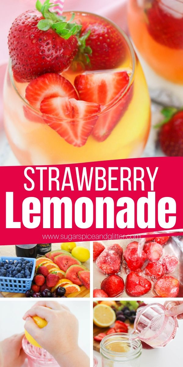 How to make the BEST Homemade Strawberry Lemonade with homemade strawberry syrup (sugar-free). Kids will love helping make this easy lemonade recipe