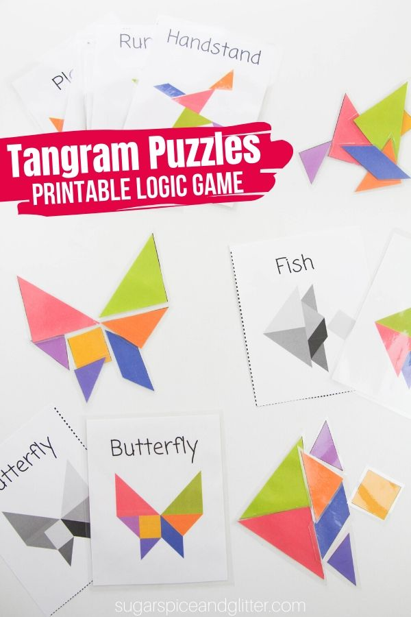 Free Printable Tangram Puzzles - 2D puzzles that teach kids a variety of math concepts, build visual-spatial skills and fine motor skills. (Plus they're fun!)