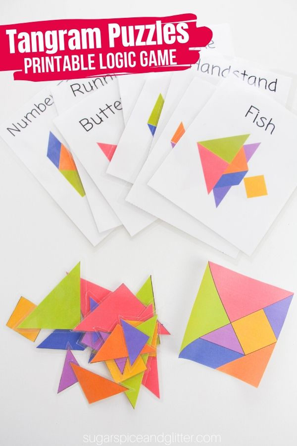 Tangram Puzzles encourage kids to think creatively while visual-spatial skills, math skills and math vocabulary. These fun printable puzzles are perfect for road trips or busy bags