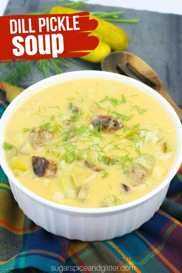 Delicious Dill Pickle Sausage Soup - can be made on the stovetop or in the Instant Pot! This zingy and unique soup recipe has amazing flavor and makes a great appetizer