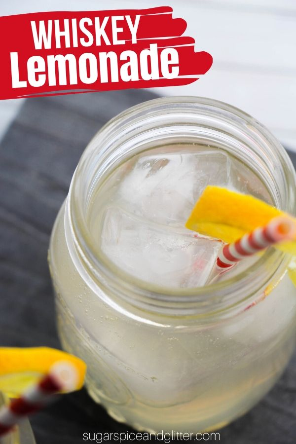 A crisp Whiskey Lemonade cocktail inspired by Jack Daniel's Lynchburg Lemonade, this summer cocktail is refreshing and delicious - perfect for tailgating