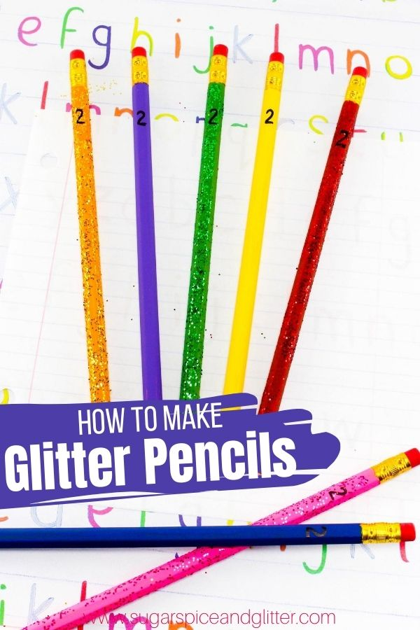 How to make glitter pencils, a fun back to school craft or homemade gift for budding writers. This step-by-step tutorial details two simple methods for making this fun DIY School Supply