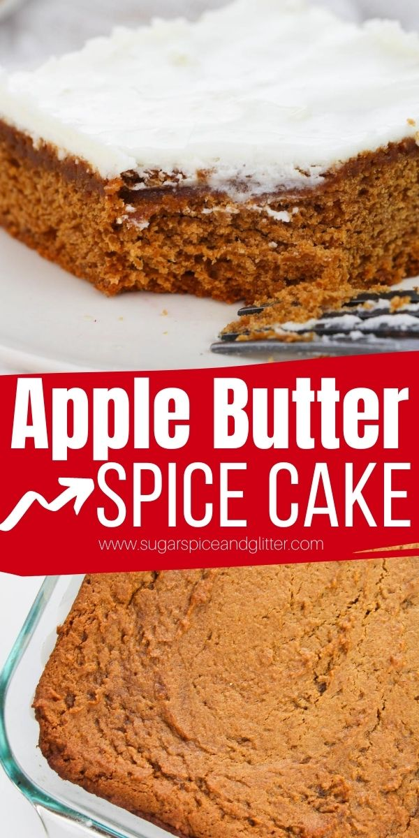 How to make the most tender, flavorful apple spice cake using apple butter! This delicious fall snack cake is topped with a luscious cream cheese frosting for the ultimate easy fall dessert
