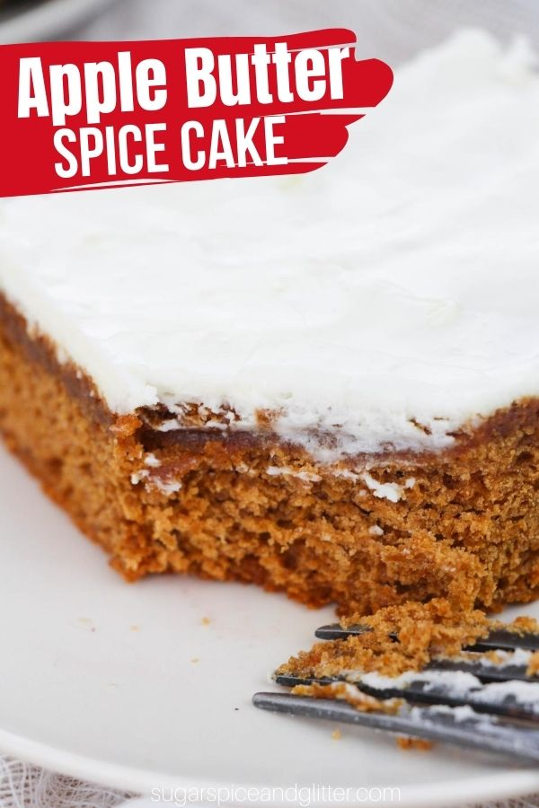 A decadent and tender apple spice cake using apple butter for a rich, caramelized flavor and chewy texture. Topped with a tangy cream cheese frosting. This apple butter dessert recipe is a family favorite