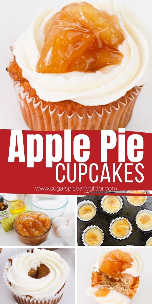 How to make decadent Apple Pie Cupcakes - a delicious cinnamon-vanilla cupcake filled with apple pie filling and topped with a cinnamon-vanilla buttercream frosting.