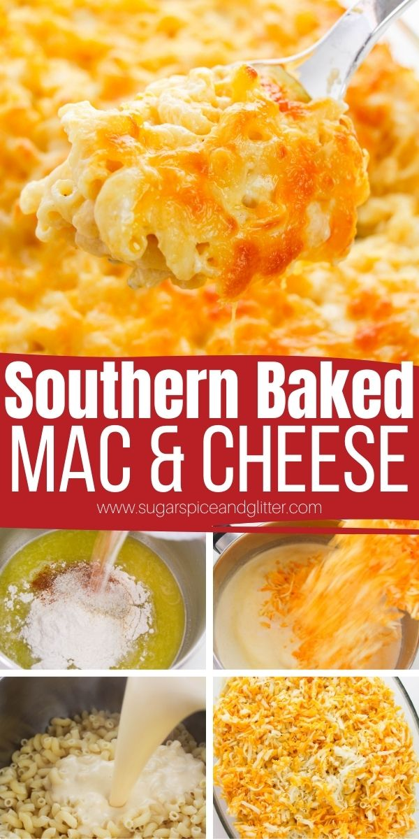 Creamy, perfectly seasoned Southern Baked Mac and Cheese with a crunchy, golden cheese topping. This homemade baked mac and cheese comes together in 10 minutes and bakes into a luscious mac and cheese that everyone will be begging for second helpings of