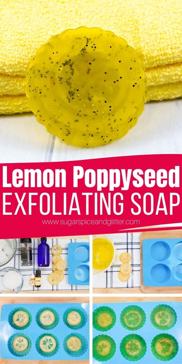 How to make lemon poppyseed soaps - a naturally exfoliating soap bar with dead sea salt and poppyseeds. These homemade soaps have an invigorating lemon scent and are gentle enough for sensitive skin