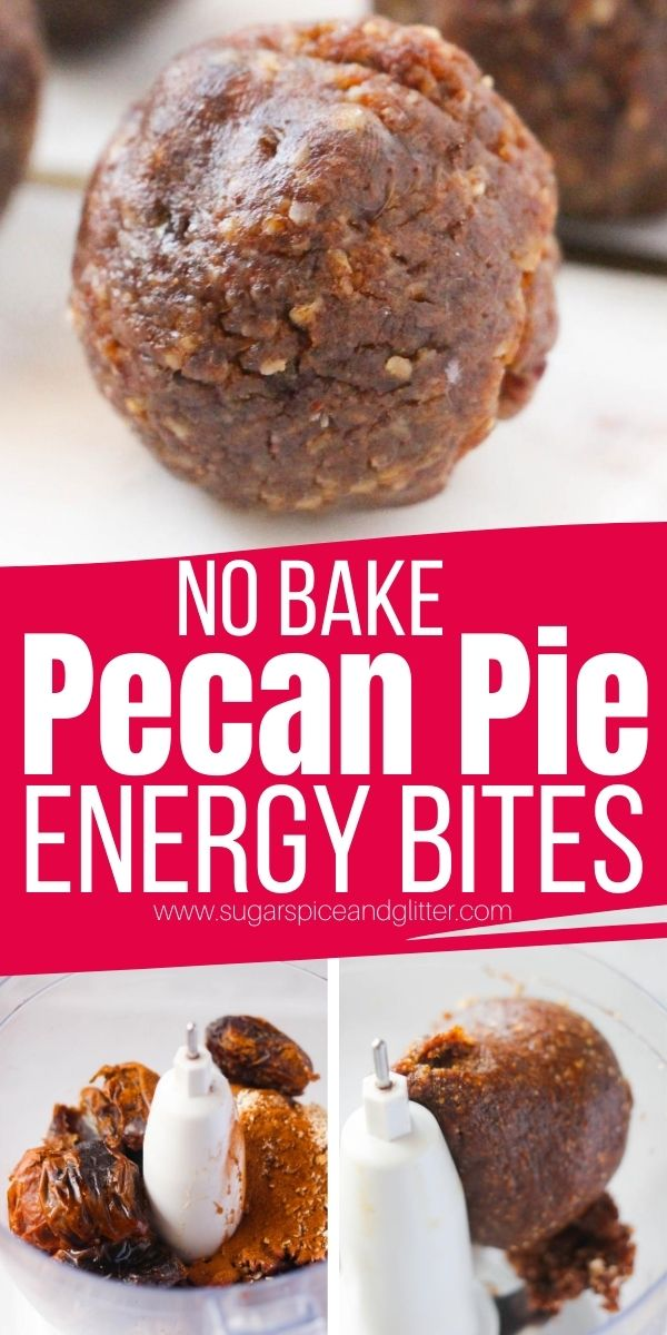 How to make no bake pecan pie energy bites - a delicious lunch box snack or afternoon treat that tastes just like pecan pie but helps you stick to your healthy eating goals while satisfying your sweet tooth