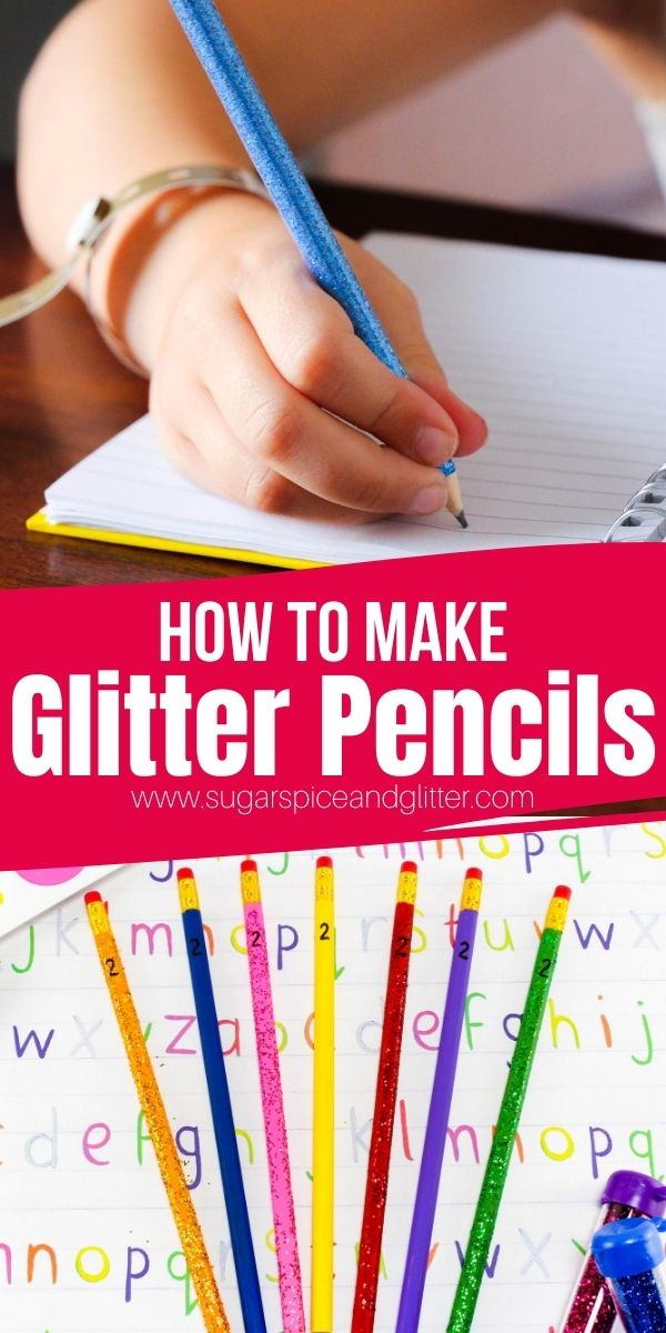 An easy back to school craft for kids, these DIY Glitter Pencils are an easy way to add some glitz and glamour to their pencil cases without shelling out for expensive school supplies.