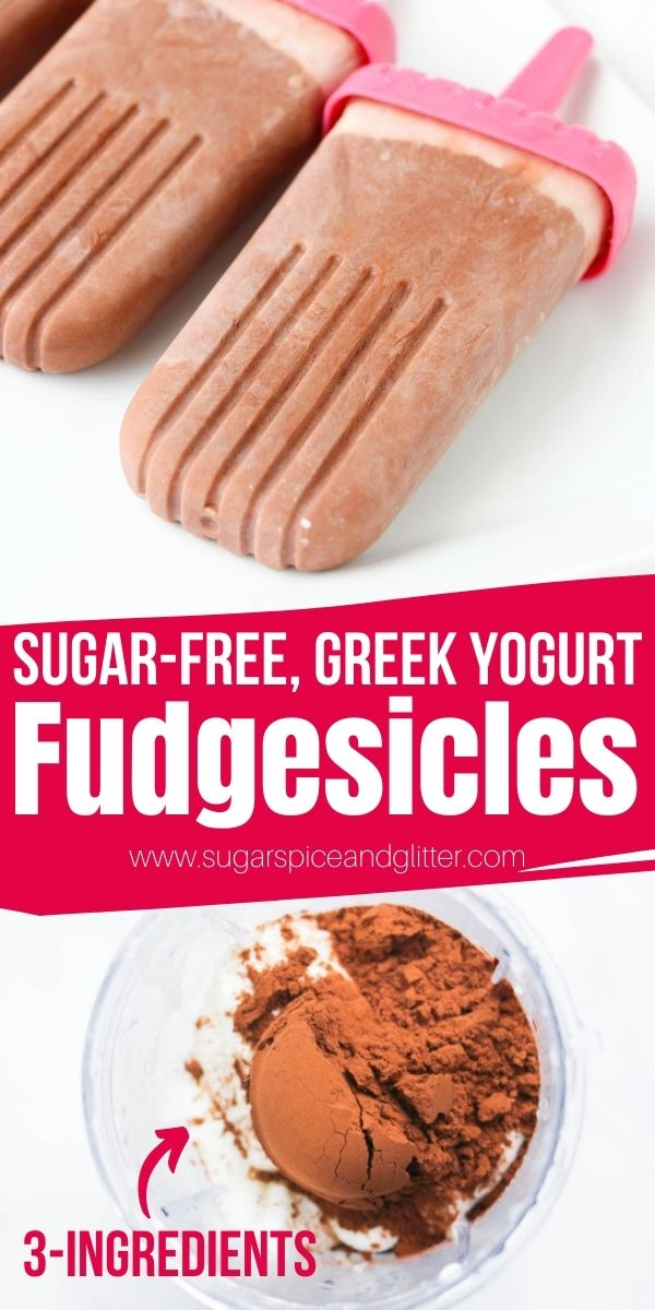 How to make healthy sugar-free fudgesicles - a delicious creamy chocolate popsicle with no added sugar and a protein boost from the Greek Yogurt. The perfect sweet treat to indulge your sweet tooth or treat the kids, while sticking to your healthy eating goals