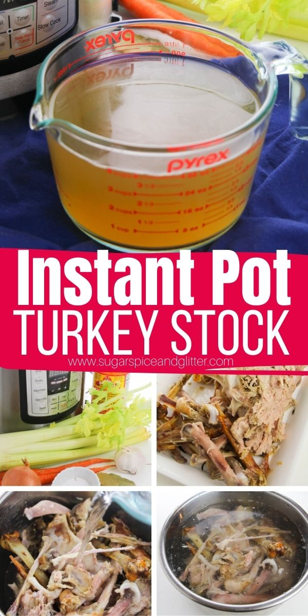 How to make Instant Pot Turkey Stock using your leftover turkey bones from the holidays. This Instant Pot Turkey Broth is perfect for adding amazing depth of flavor to your favorite soups and sauces and can be frozen