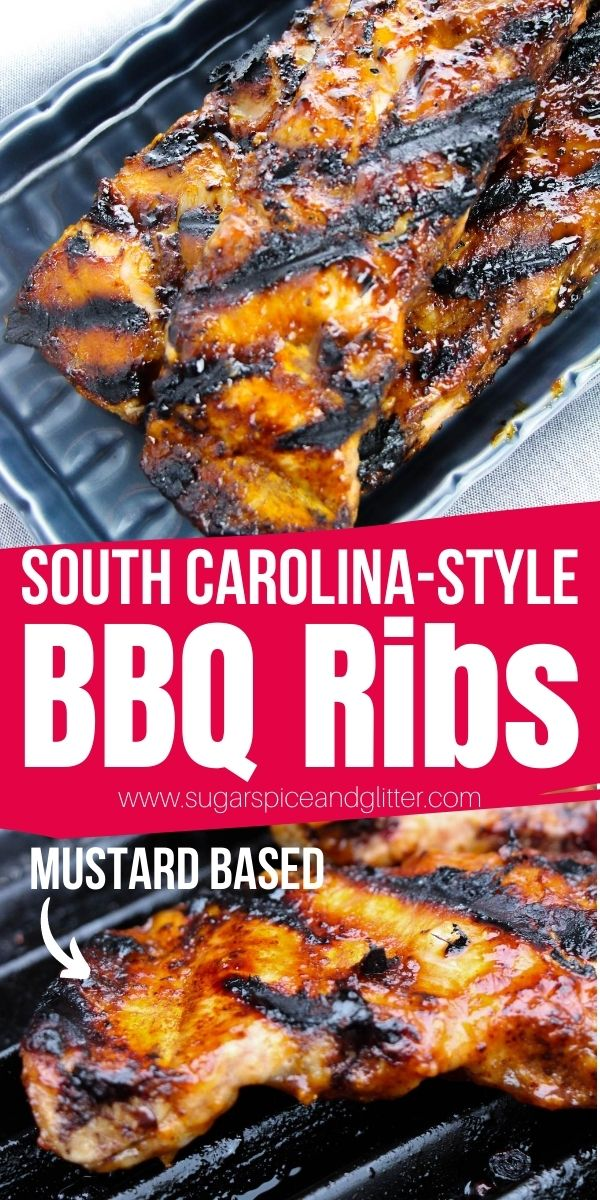 How to make South Carolina BBQ Ribs with a homemade Carolina Gold BBQ Sauce, a mustard-based sauce unlike anything you've ever tasted before! Plus tips on how to cook your ribs in less than an hour on the grill!