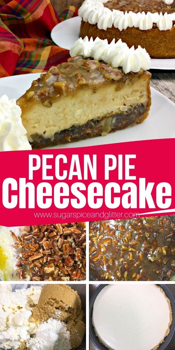 How to make a pecan pie cheesecake - the ultimate Thanksgiving dessert. Why decide between pie and cheesecake when you can have both? Vanilla cookie crust, sweet pecan pie filling, and a brown sugar cheesecake all topped with homemade whipped cream frosting. Everyone will be raving about this fall dessert!