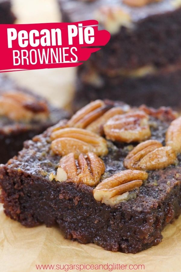 How to make pecan pie brownies, a fun hybrid dessert that gives you the caramelized ooey gooey topping of a pecan pie with the rich, chocolatey flavor of decadent brownies. The BEST fall dessert recipe this year