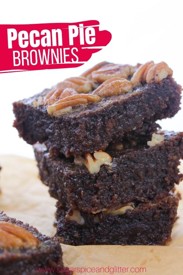 The fudgiest brownies you will ever make! These Pecan Pie Brownies are the best of both worlds - caramelized pecan pie topping with a rich, fudgy brownie. The PERFECT fall dessert recipe