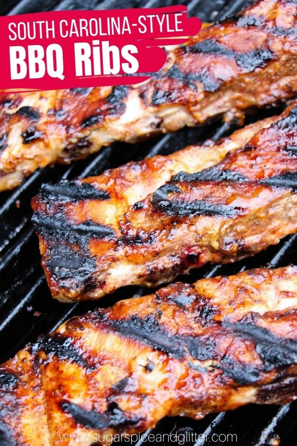 Tangy, tart and savoury South Carolina Ribs made with homemade Carolina Gold BBQ Sauce, a mustard-based BBQ sauce with amazing depth of flavor. Plus tips on how to cook ribs in less than an hour!