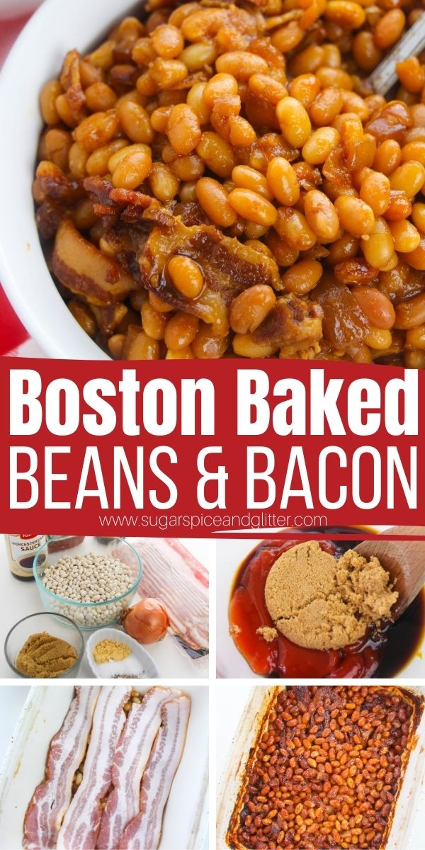 How to make the best Boston Baked Beans in the oven, with minimal ingredients and practically no prep! These sweet and savory baked beans taste way better than anything that comes out of a can and are the perfect side dish for brunch, BBQs or holidays