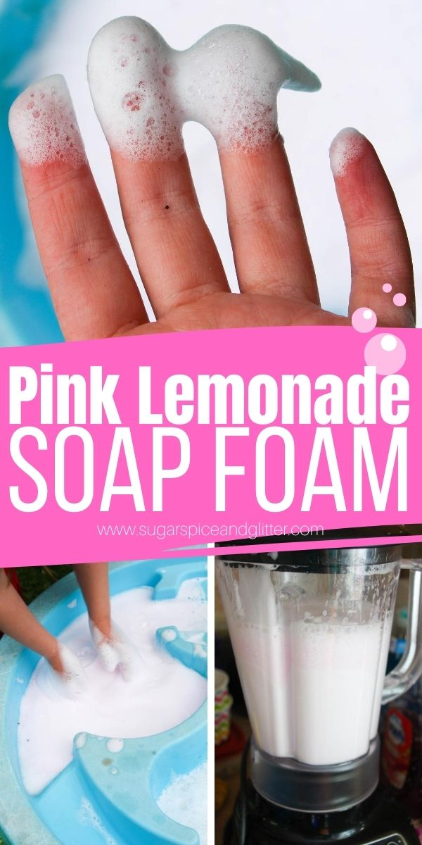 How to make pink lemonade soap foam, a delicious-smelling and clean sensory play activity for kids. This non-messy soap foam stays fluffy and bubbly for half an hour and is super easy to whip up!