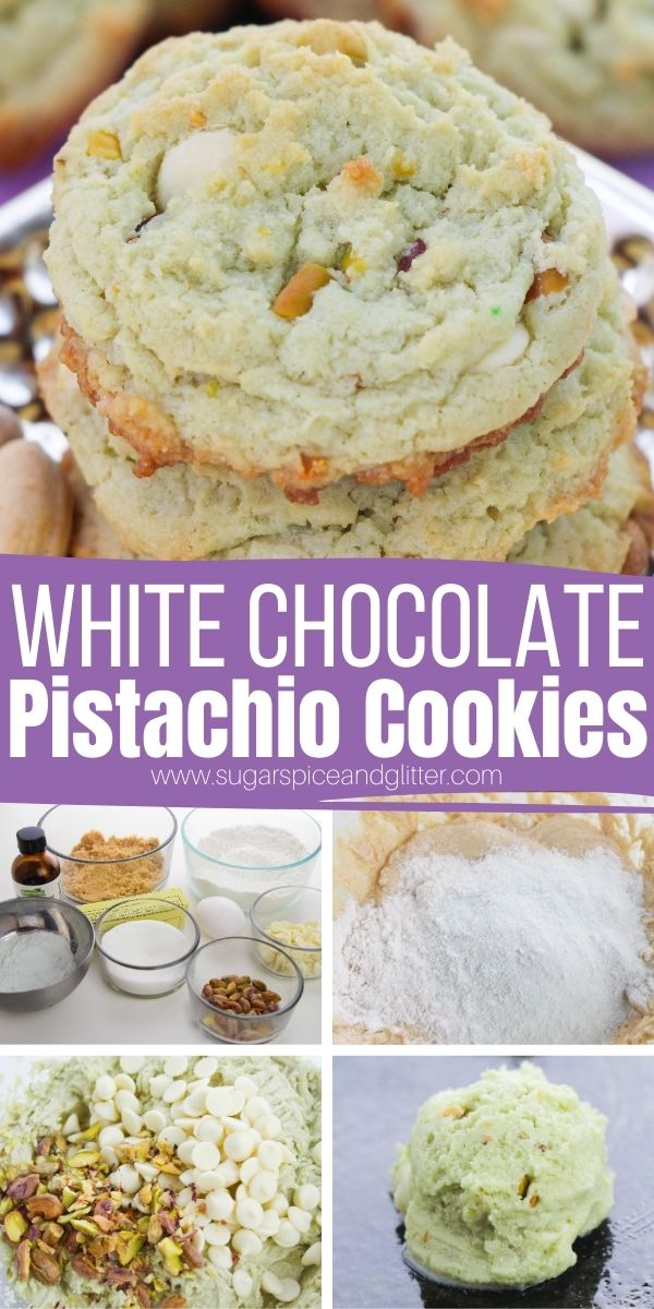 How to make a pistachio pudding cookie using boxed pudding mix, crushed pistachios and white chocolate chips. These decadent, soft chocolate chip cookies are a pistachio lover's dream dessert