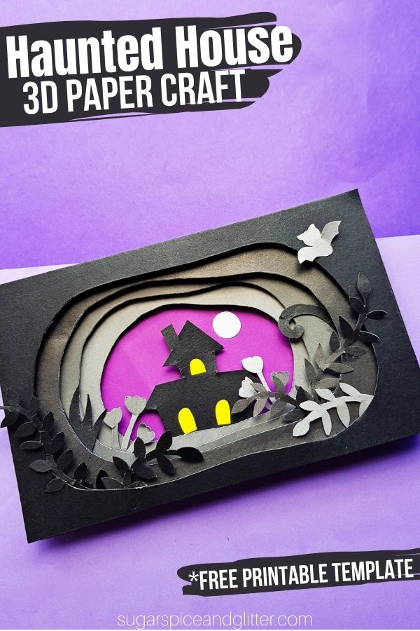 A deceptively simple Halloween craft for kids using a simple visual trick. Grab your free printable template to make this easy 3d Haunted House craft for kids