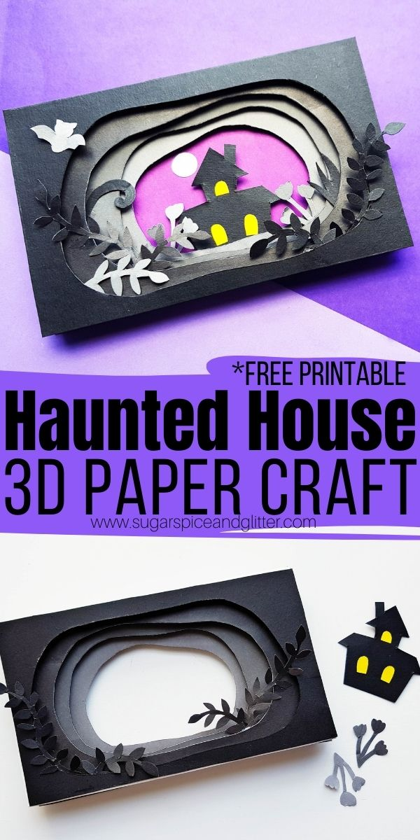 How to make a 3D haunted house paper craft using everyday crafting materials. A super simple craft for kids using a free printable craft template
