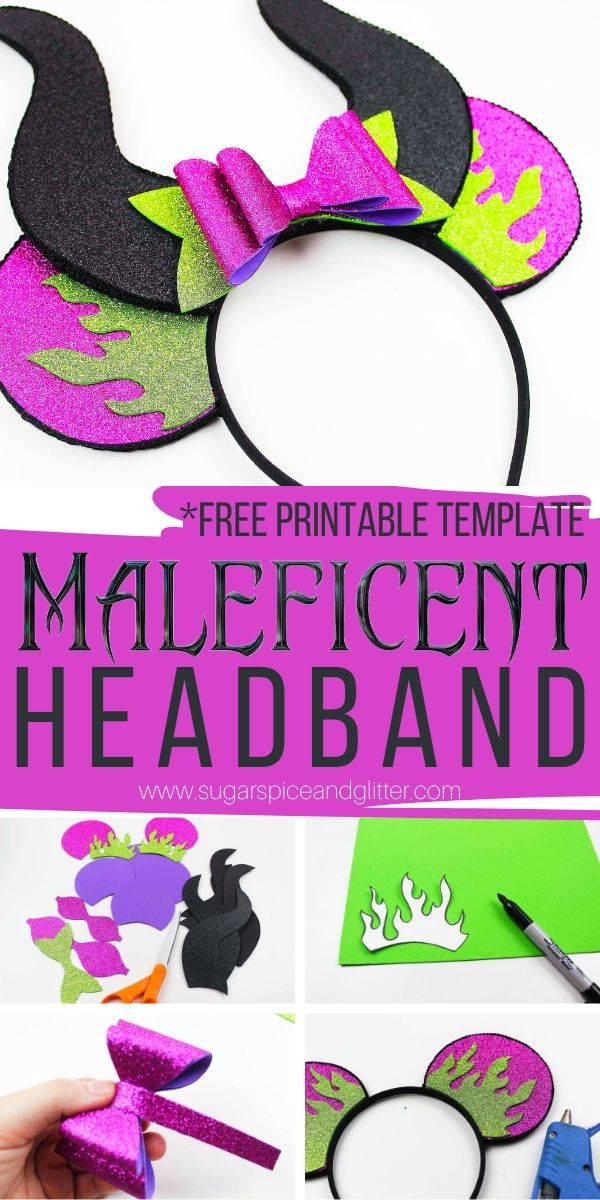 Step-by-step directions and a free printable template to make a Maleficent Headband with Horns and Mickey Ears - perfect for Mickey's Not So Scary Halloween Party