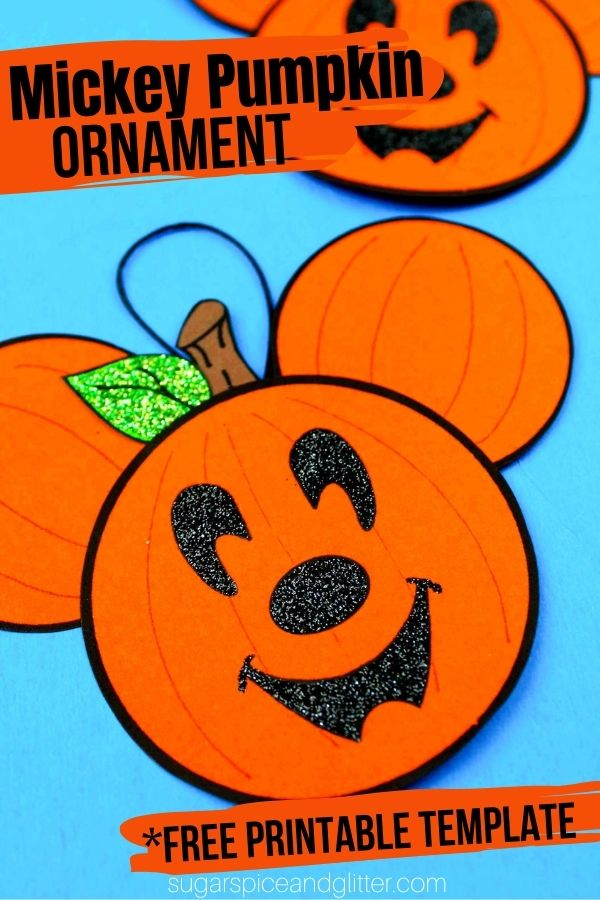 A super fun and easy Mickey Pumpkin Ornament craft to add some Disney Magic to your Halloween decor. A Free Printable Template makes this craft quick and easy