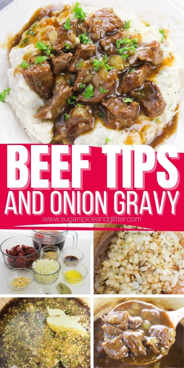 How to make the BEST EVER beef tips and gravy, tender, perfectly seared beef tips simmered in a sumptuous and perfectly balanced beef and onion gravy. This recipe requires less than 20 minutes of active prep but will knock the socks off of anyone you serve it to!