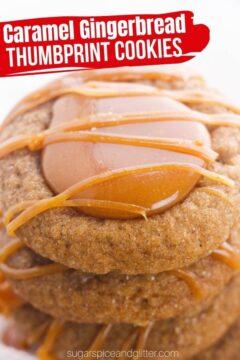 Caramel Thumbprint Gingerbread Cookies