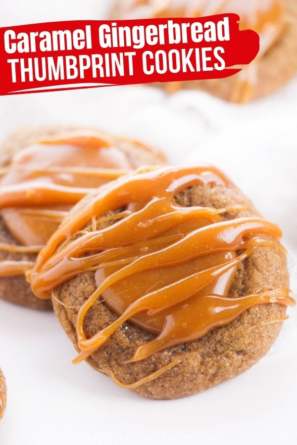 A perfectly spiced soft gingerbread thumbprint cookie filled with a luscious caramel sauce. These caramel gingerbread thumbprint cookies are the perfect addition your Christmas cookie exchange