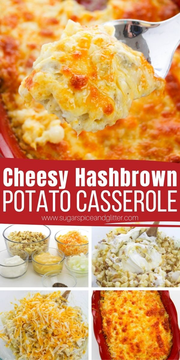 How to make the BEST Cheesy Hashbrown Potato Casserole. This creamy, cheesy potato side dish is perfect for busy weeknights, indulgent brunches or for special occasions - and it only takes 5 minutes to prep!