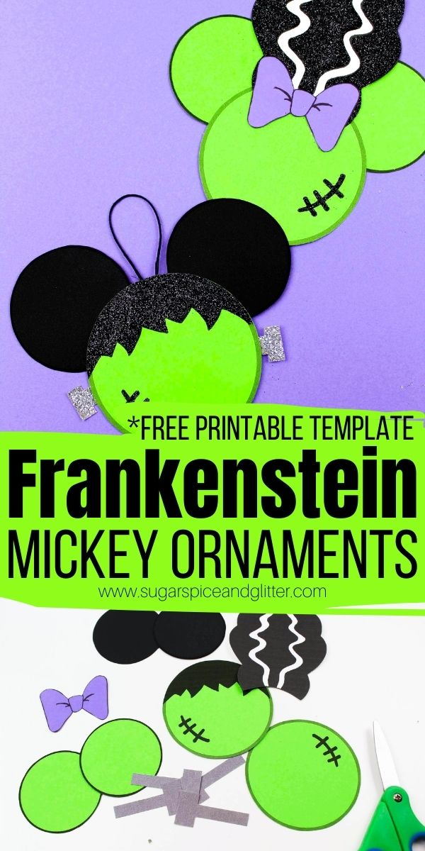 A fun Disney Halloween Craft with free printable template - use these Halloween Decorations to make tree ornaments, fridge magnets, a Halloween banner, and more!