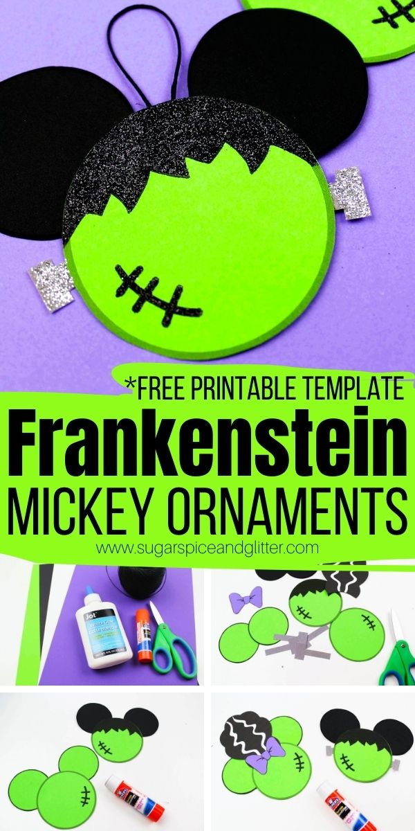 You can make your own Mickey Frankenstein and Minnie Bride of Frankenstein Ornaments with our free printable template - a fun Disney Halloween craft to add some magic to the holiday