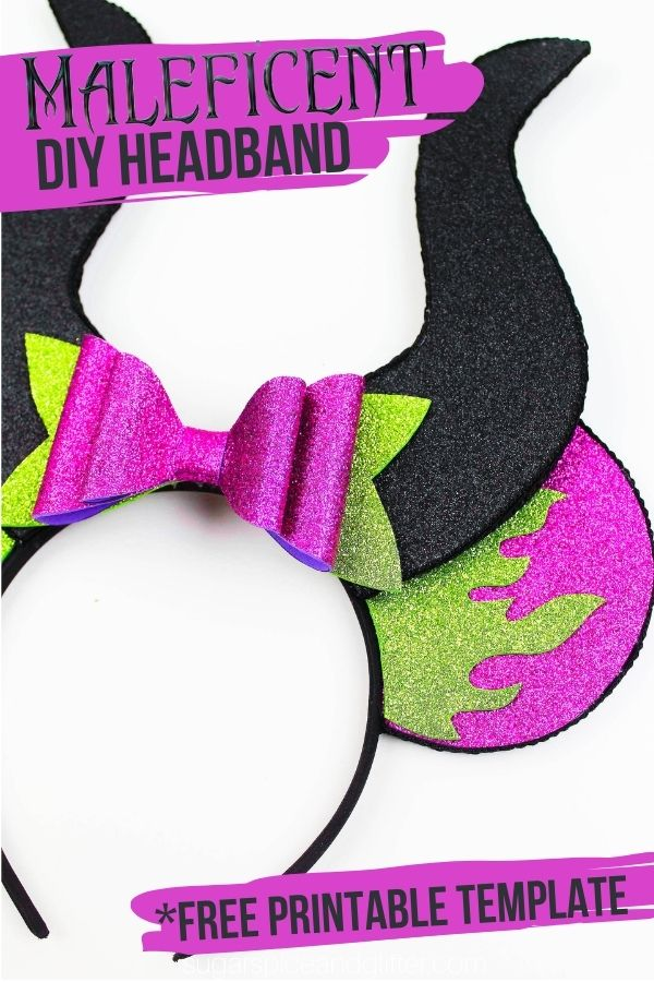 These Maleficent Mickey Ears are super easy to make thanks to a free printable template - and you just need a few basic craft materials to make them! Way cheaper than buying at the parks or ordering a set online