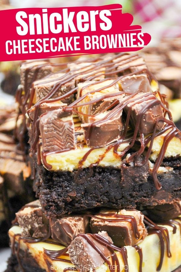 A decadent cheesecake brownie topped with your favorite candy bars and a rich homemade chocolate ganache. Use Snickers, Twix, Three Musketeers - whatever you have on hand.