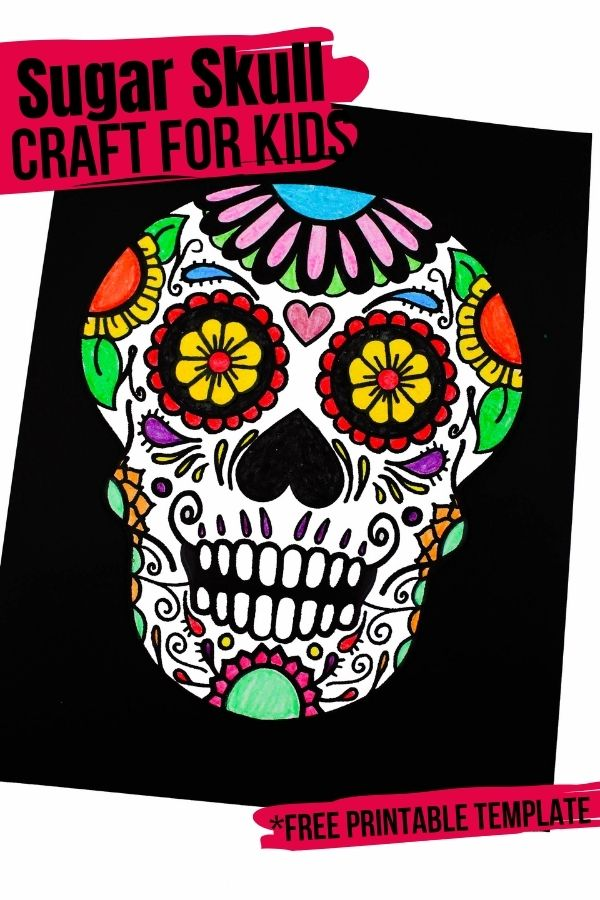 A gorgeous (and free) sugar skull coloring page - perfect for an easy Day of the Dead craft for kids. You can make a banner, wall art or homemade card with your finished design