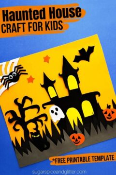 Haunted House Cut Out Craft with Printable Template