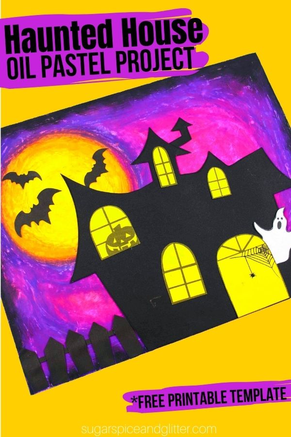 An easy Halloween craft with printable haunted house template to teach kids how to use oil pastels to create a vibrant night sky. This easy Halloween craft for kids has so many opportunities for extensions and kids can truly make it their own
