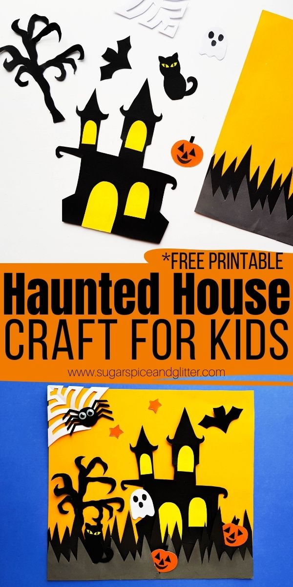 How to make a haunted house cut out craft with our free printable template featuring a spooky house and lots of fun Halloween objects. An easy and fun Halloween craft for kids