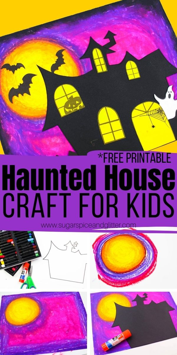 How to make a haunted house craft for kids with a pretty oil pastel night sky - a great first oil pastels art project for kids! Plus tips on how to contain the mess, clean any oil pastel stains, and a free printable haunted house template
