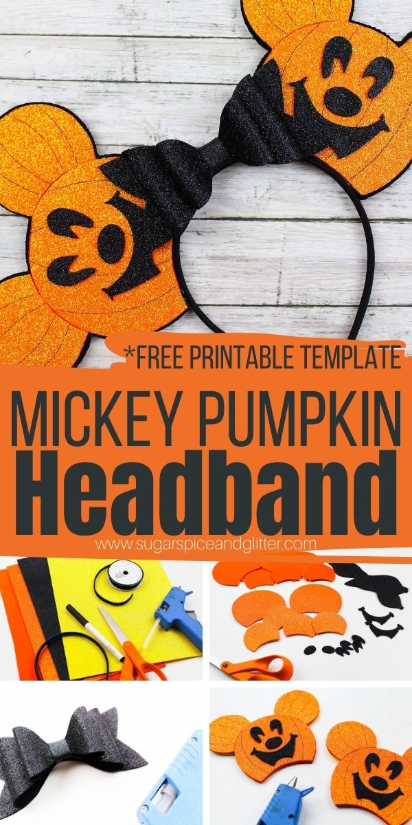 How to make super cute Mickey Pumpkin Headbands, a fun Disney Halloween Ears Headband perfect for Mickey's Not So Scary Halloween Party.