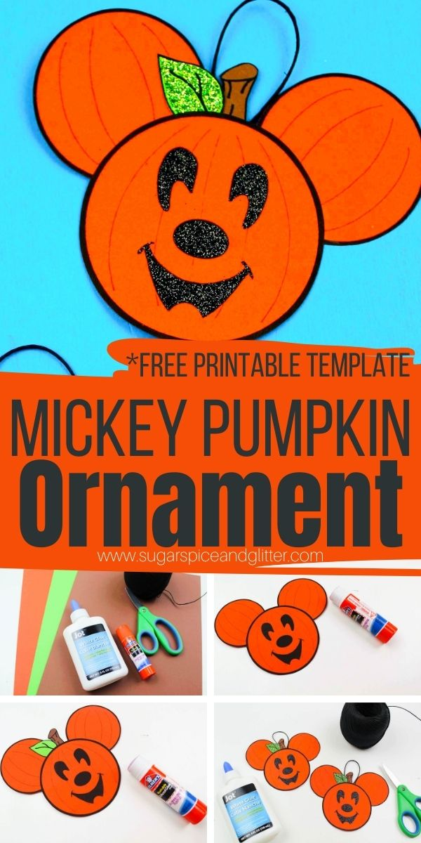 Step-by-step instructions on how to make the cutest Mickey Pumpkin Head ornaments using a free printable craft template