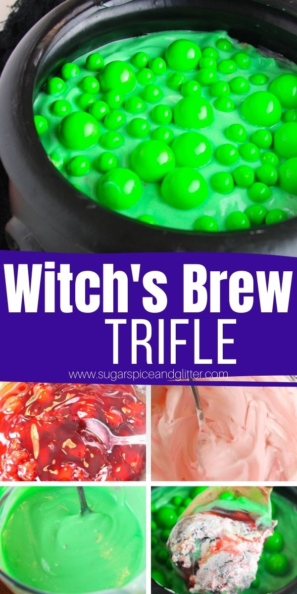 Kids will love this easy No Bake Halloween Dessert Trifle styled to look like a Witch's Brew in a Cauldron! Use your favorite desserts to swap out the layers - we used cherry pie filling, brownies, Cool Whip and pudding mix!