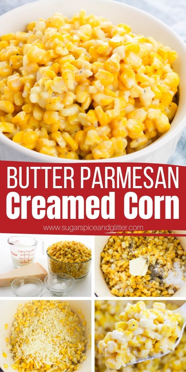 How to make the best ever creamed corn - in less than 10 minutes! This cream style corn features plump, juicy, buttery corn kernels and a cheesy, creamy Parmesan sauce. This is the perfect vegetable side dish for BBQs, family meals, or Thanksgiving